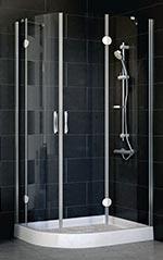 Душевая дверь в нишу Vegas Glass E2P 0090 07 01 профиль матовый хром, стекло прозрачное одесса мебель для ванны